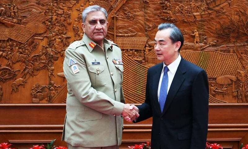 Image result for Pakistan's Chief of Army Staff General Qamar Javed Bajwa with Chinese Foreign Minister Wang Yi
