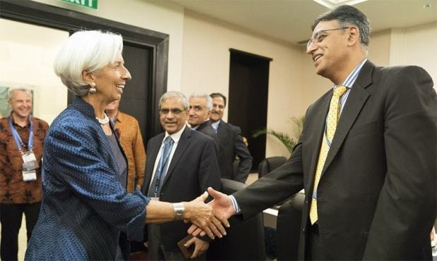 IMF Managing Director Christina Lagarde and Finance Minister Asad Umar meet on the sidelines of the IMF and World Bank annual meetings in Bali. ─ Photo courtesy IMF Twitter