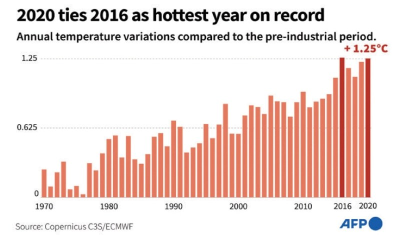 2020 ties with 2016 as hottest year on record: EU body