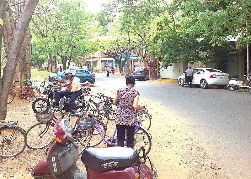 Bicycles make it easy to commute inside the sprawling campus of the Indian Institute of Science in Bangalore.