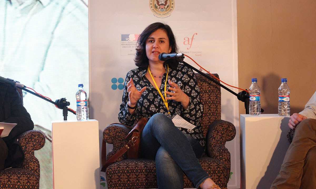 Renowned author Kamila Shamsie at the session  'Transmuting fiction into drama'. — Mahjabeen Mankani