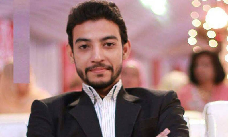 A picture showing Waqas Ali Shah of MQM's central information committee who the party says was killed in the raid. Photo courtesy: Facebook