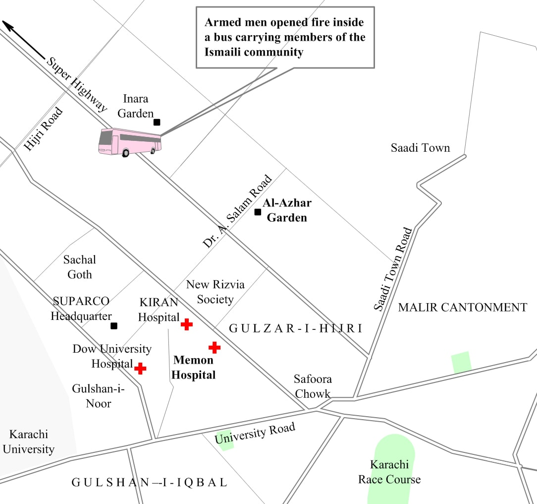 Map showing the site of the attack. ─ Dawn GIS