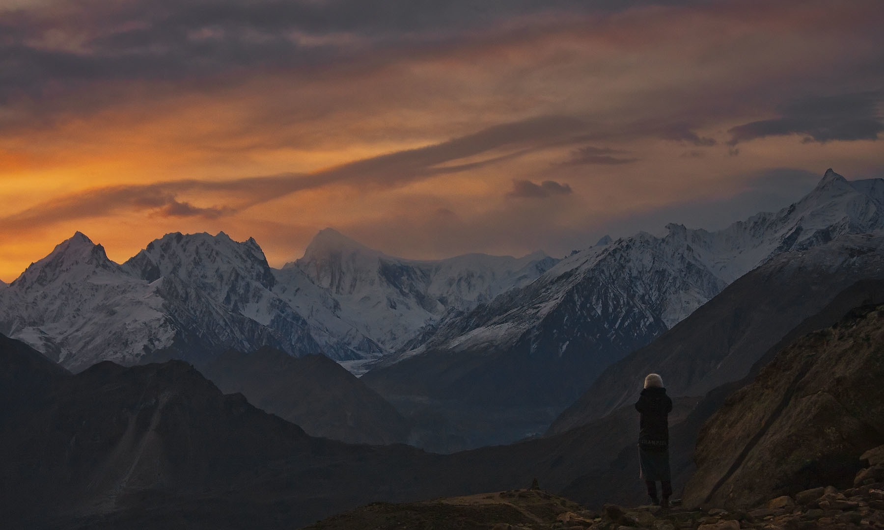 View of Nagar from Hunza at dusk.