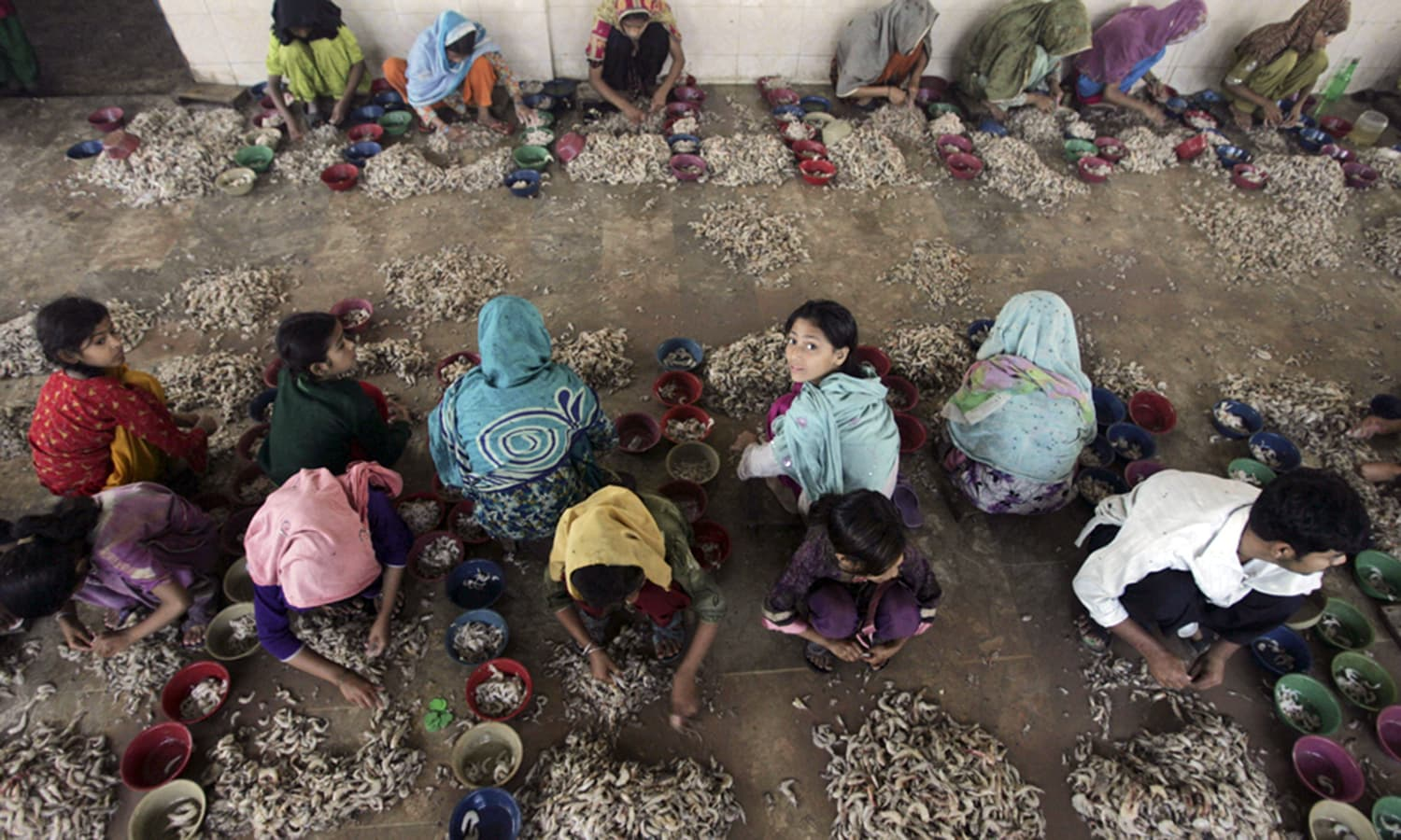Women and children earn a living by peeling shrimps. — AP/File
