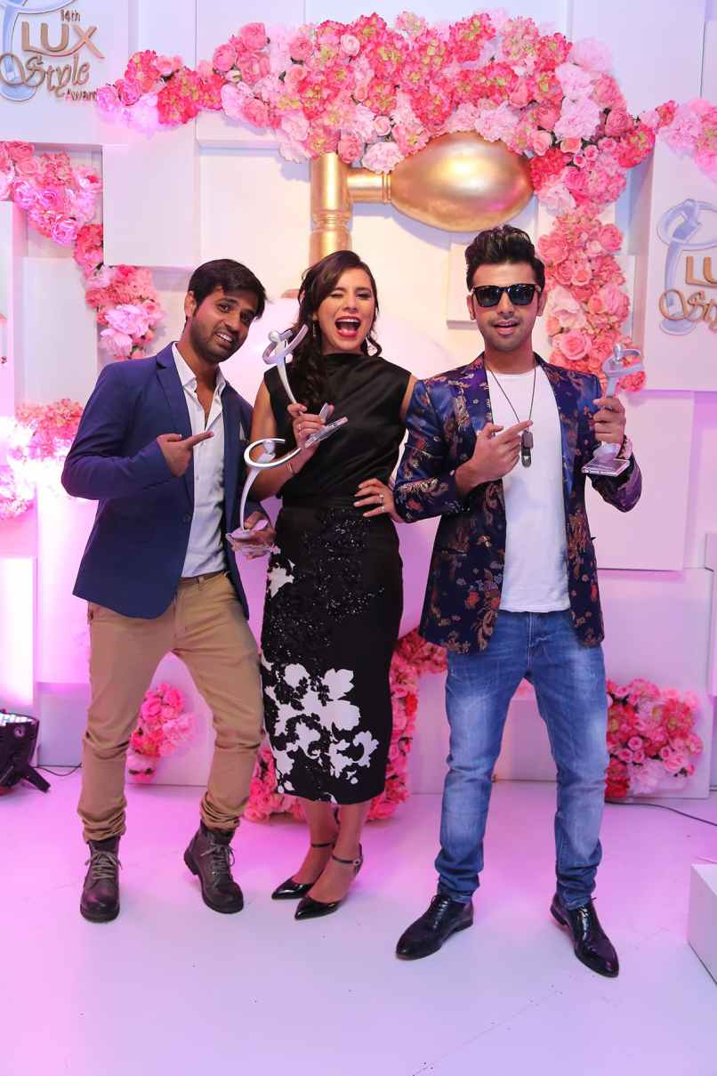 Zoe Viccaji with Adnan Kandhar and Farhan Saeed