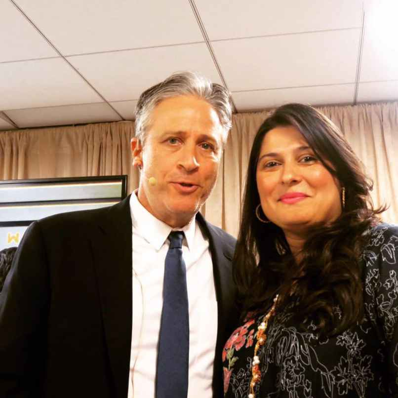 Sharmeen takes a selfie with Jon Stewart