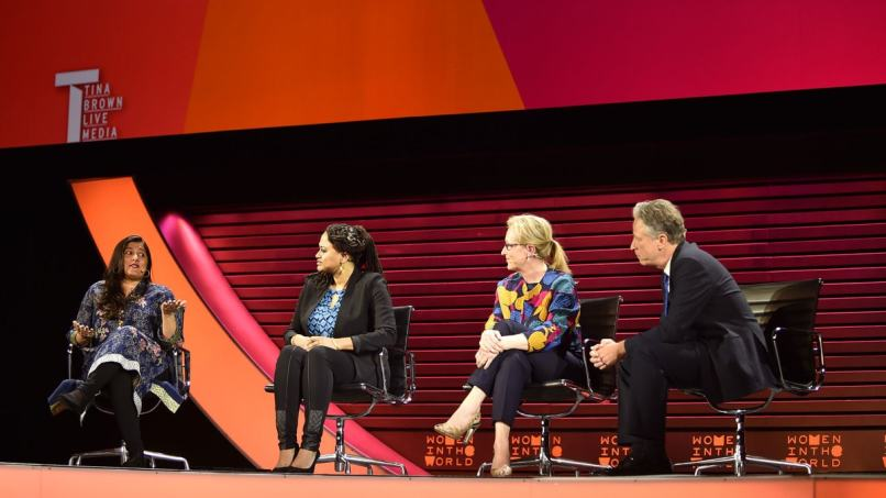 Sharmeen on a panel with Ava DuVernay and Meryl Streep at the Women In The World Summit 2015