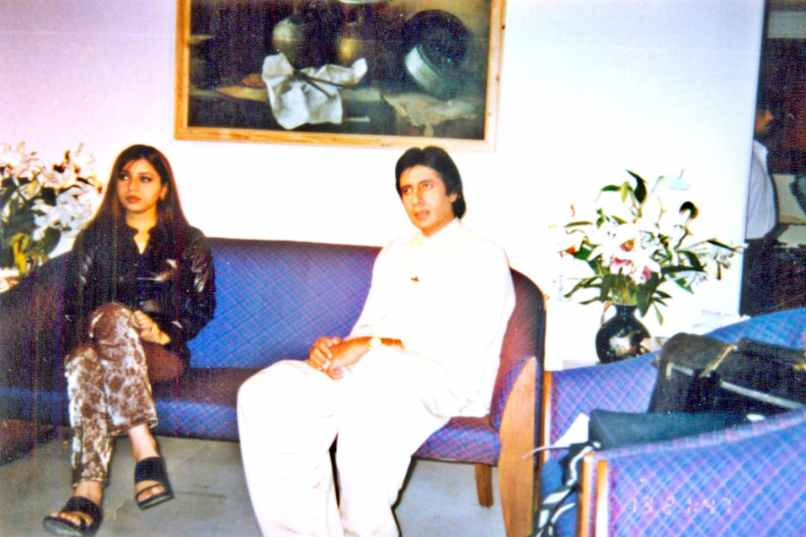 A nervous Komal sits timidly by the superstar Amitabh Bachchan's side