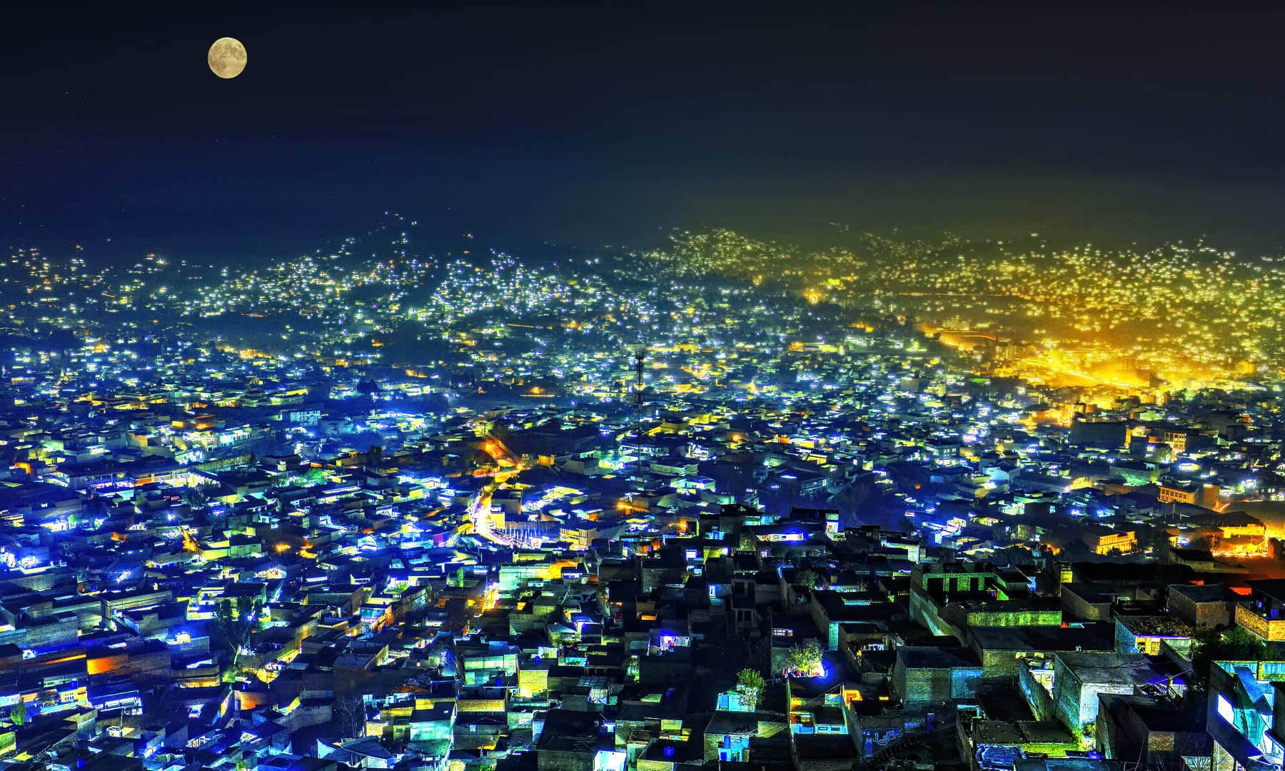 Mingora at night.