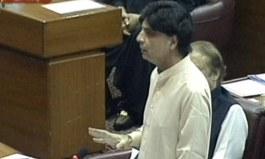 چوہدری نثار قومی اسمبلی میں اظہار خیال کرتے ہوئے — فوٹو: ڈان نیوز