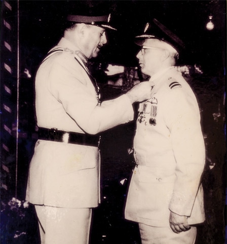 Turowicz being decorated by President Ayub Khan in 1966 for meritorious service to the Pakistan Air Force -Photos by Tahir Jamal/White Star. Courtesy Pakistan Air Force Museum.