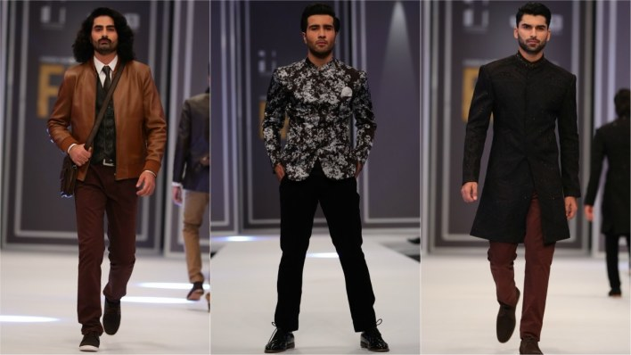 Amir Adnan's leather jackets, blazers (modelled by showstopper Feroze Khan) and sherwanis were particular highs