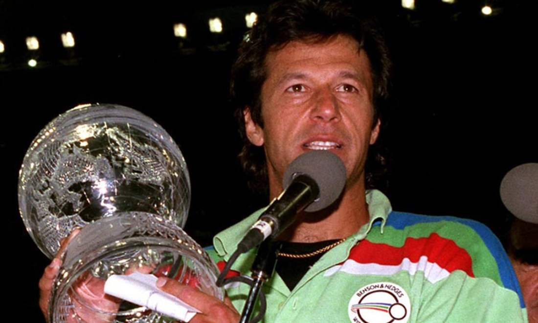 Imran Khan after the World Cup victory in 1992. — Dawn/File