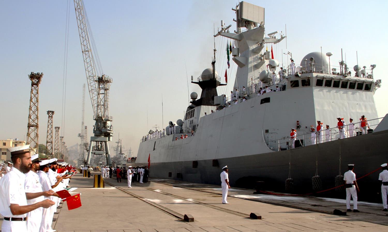 Chinese Navy ship Handan berths at Karachi Port. ─Navy PR