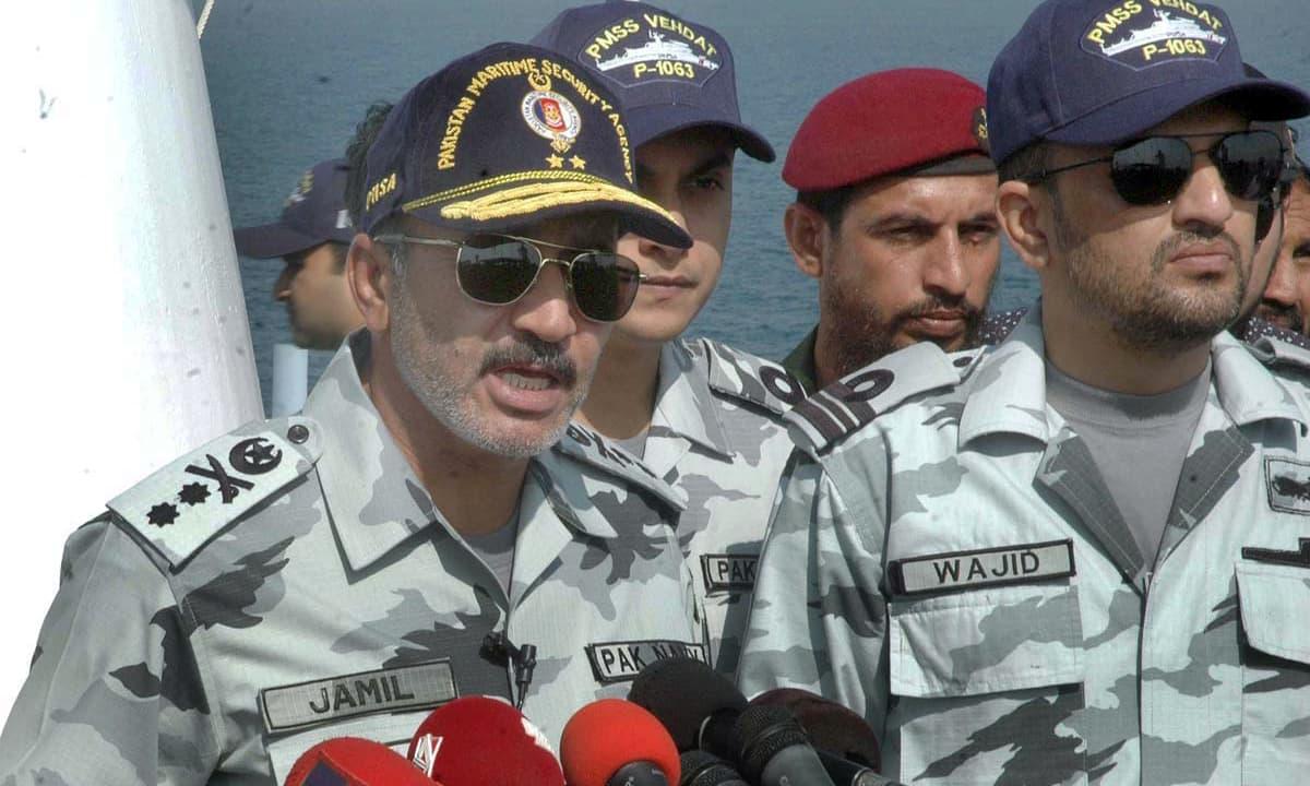 DG Pakistan Marine Security Agency Rear Admiral Jamil Akhtar briefs about marine oil spill exercise Barracuda-VII. ─APP