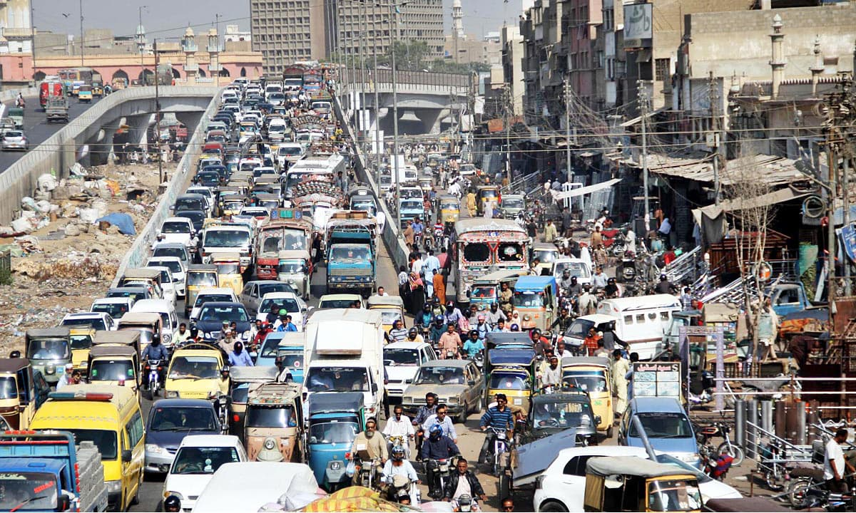 A view of gridlock at SM Taufeeq Road in Liaquatabad due to IDEAS 2016 being held at Expo Centre in Karachi. —Online