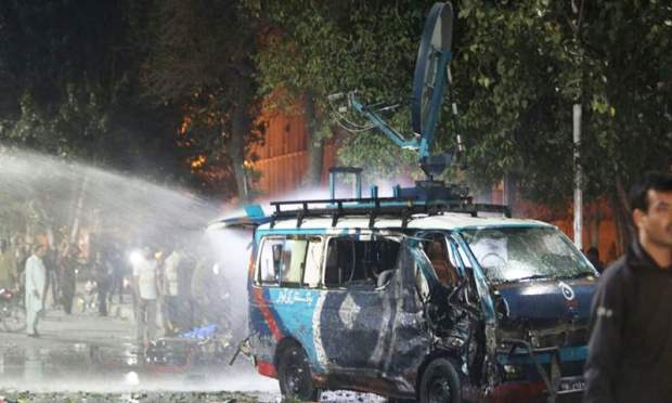 A damaged DSNG at the scene of the attack.