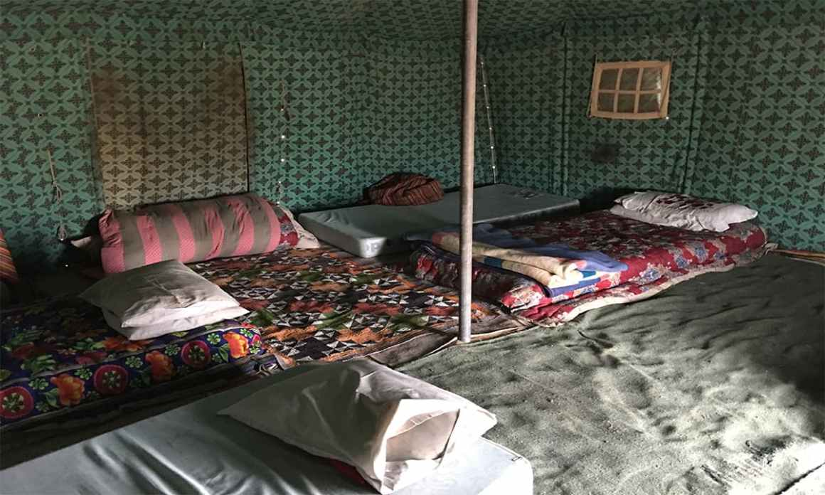 Inside a tent being used by the local members of the Abu Dhabi staff | Subuk Hasnain