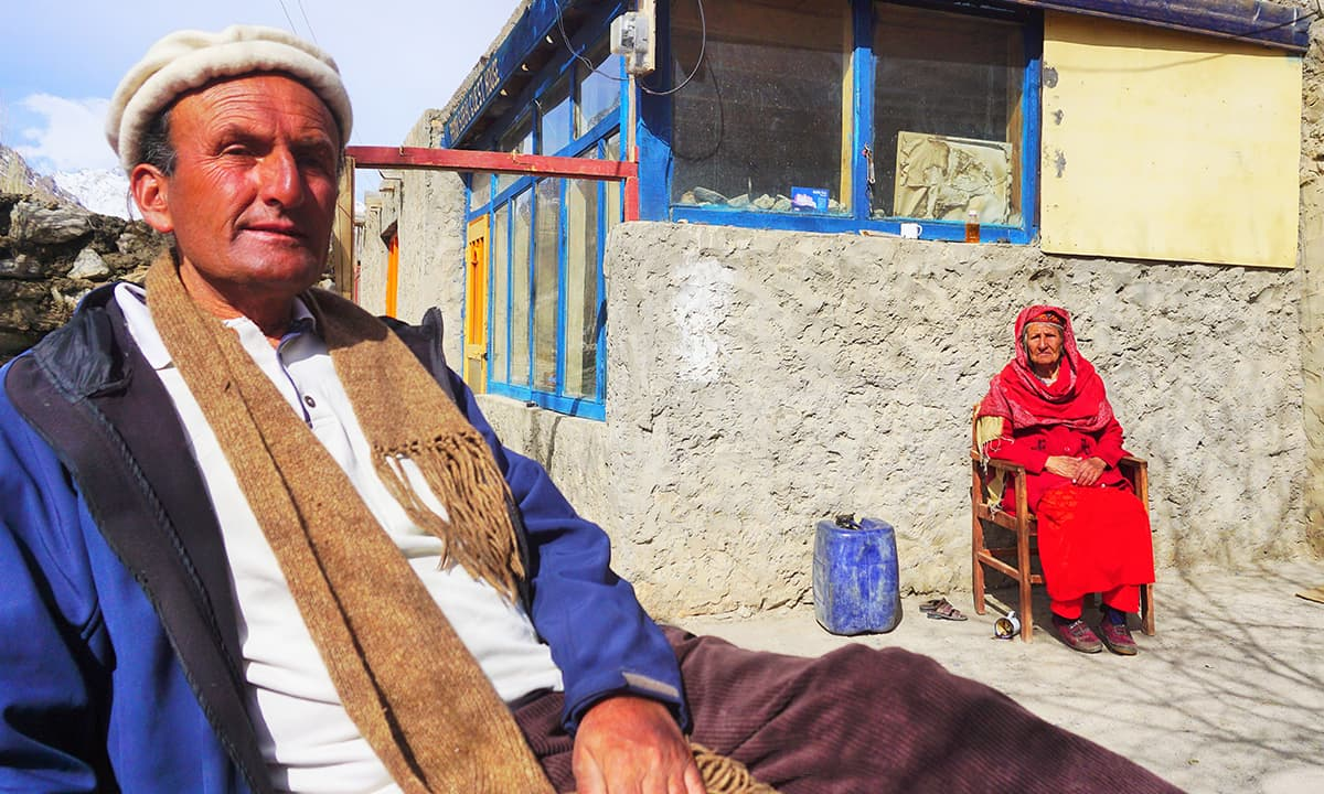 Alam Jan Dario with his mother in Zuwudkhoon village, Chapursan Valley
