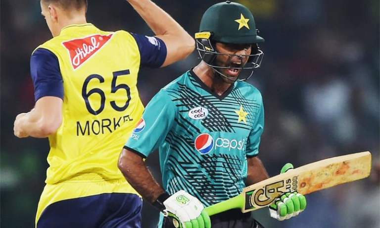Fakhar Zaman is caught out on 8 in the first over of the three-match T20i Independence Cup series in Lahore. ─ Photo courtesy ICC Twitter