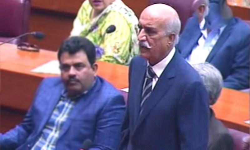 Opposition Leader in the National Assembly Syed Khursheed Shah speaks in National Assembly on Friday. — DawnNewsTV