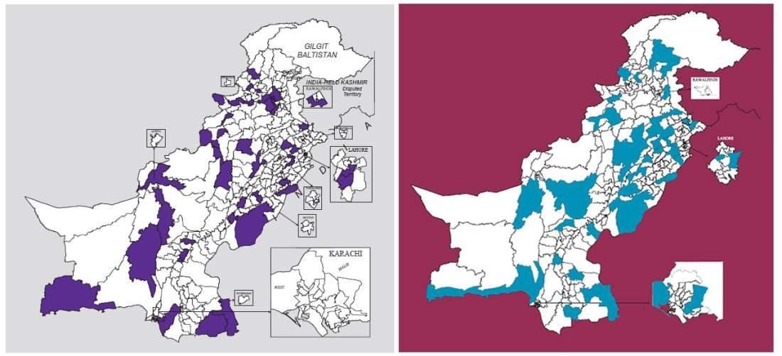 Contests where the margin of victory was less than 10 percent in 2013 (L) vs 2018 (R) | Dawn GIS