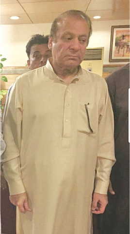 NAWAZ Sharif pictured at Nur Khan airbase after being released from prison on parole.