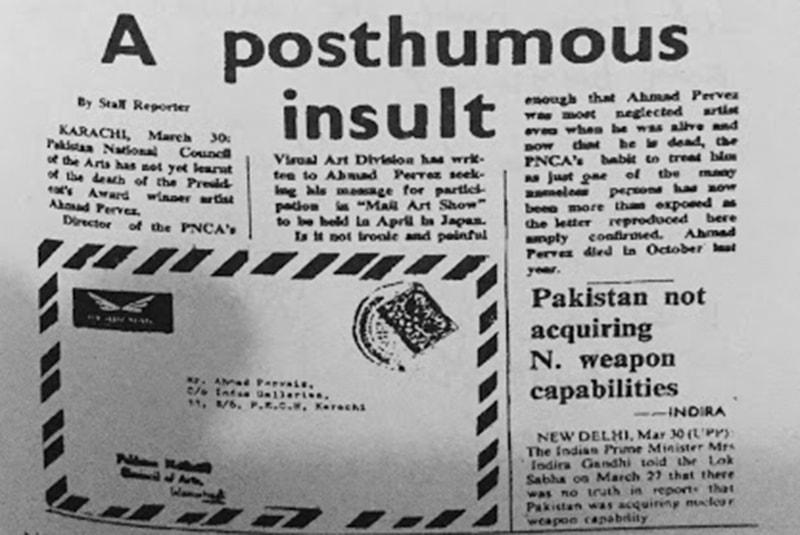 مرنے کے 6 ماہ بعد پاکستان نیشنل کونسل آف آرٹس کی طرف سے ایک خط آیا جس میں احمد پرویز کو جاپان میں تصویروں کی نمائش منعقد کرنے کی دعوت دی گئی تھی