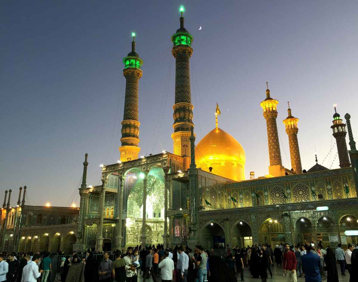 The golden dome of the Fatima Masoumeh shrine in Qom. Shrines of the 12 Shia imams and their descendants tend to be topped by a large golden dome, part of a shared transnational religious aesthetic.
