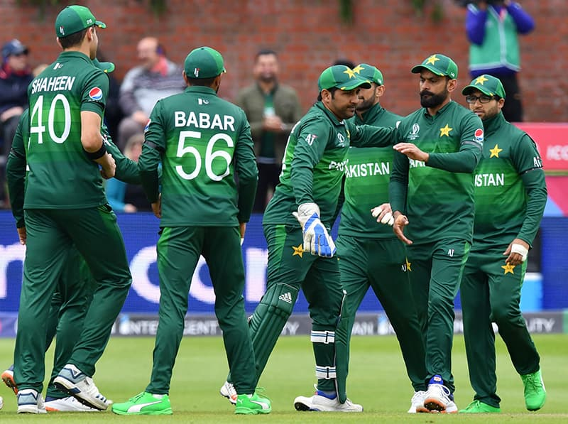 The men in green celebrate after Finch's dismissal. ─ AFP