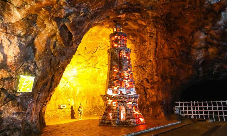 Model of Minar-e- Pakistan made of salt bricks inside the Khewra Salt Mines.