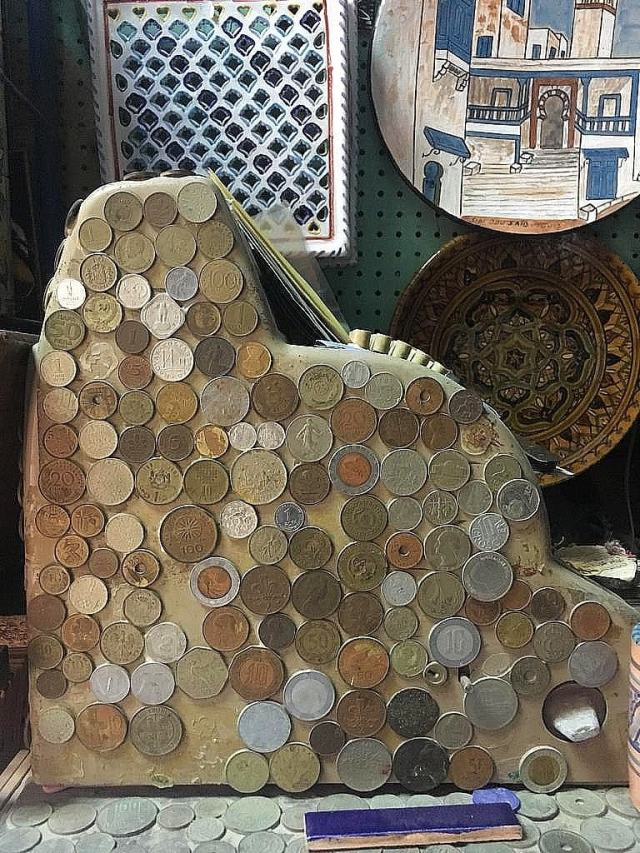 A cash register at a shop inside the Medina.