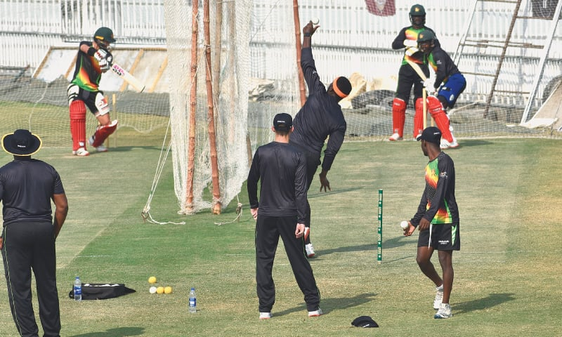 RAWALPINDI: Zimbabwe cricketers in action during a net practice session at the Pindi Cricket Stadium on Tuesday. — Tanveer Shahzad/White Star