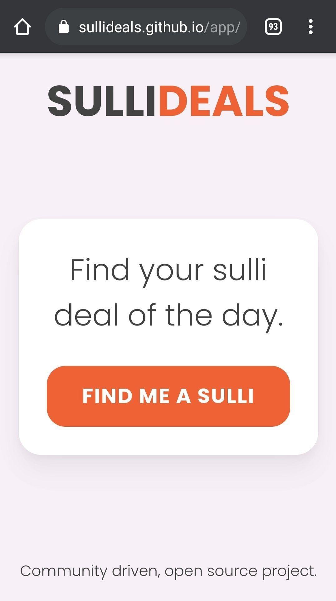 Screengrab of 'Sulli Deals' app on Github. — Photo Courtesy: Twitter/@adabehindustan