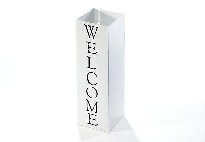 Schirmständer WELCOME eckig aus Metall weiß mit Print