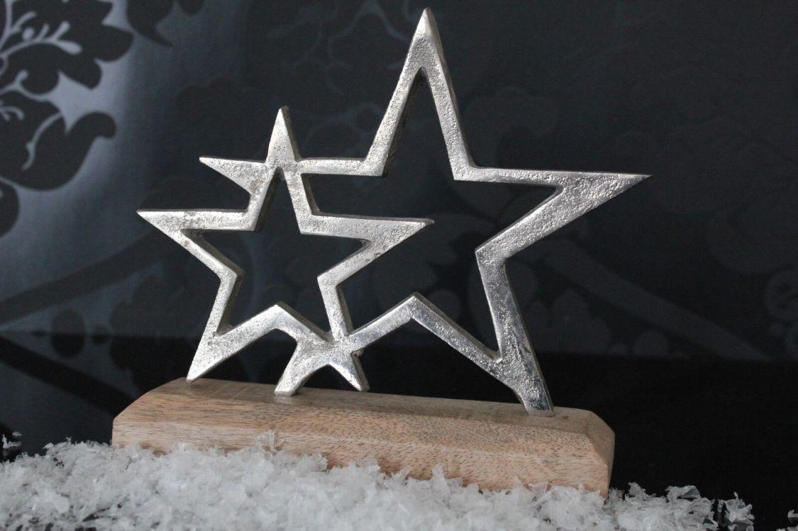 Deko Skulptur Stern 19cm Holz Metall silber abstrakt design Figur Objekt Shabby