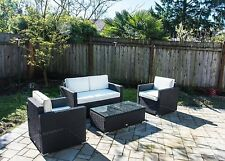 4 PC Sectional Rattan Wicker Sofa Set Patio Garden Cushioned Outdoor Fur...