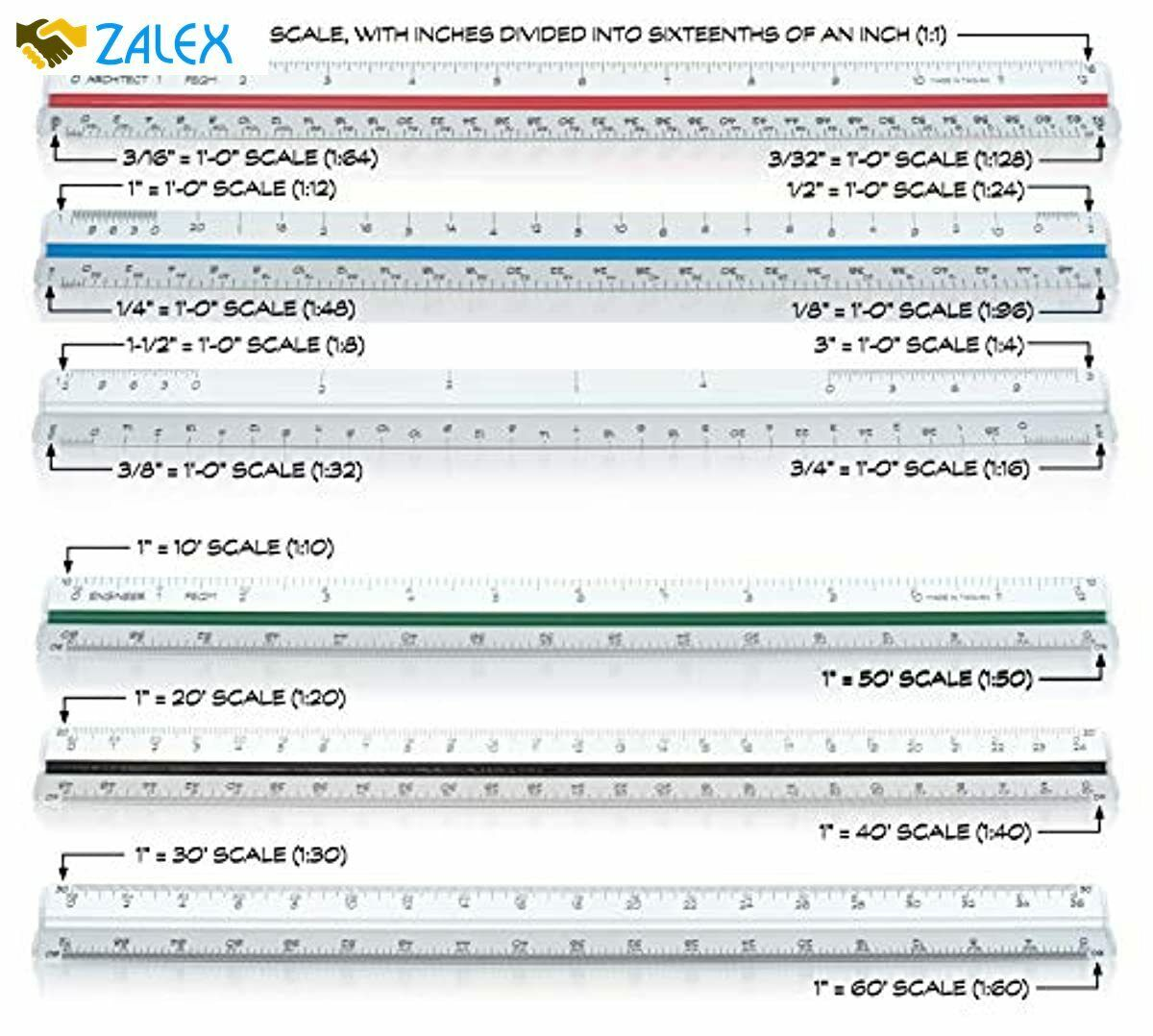 Architectural Scale Ruler Imperial And Engineer Scale