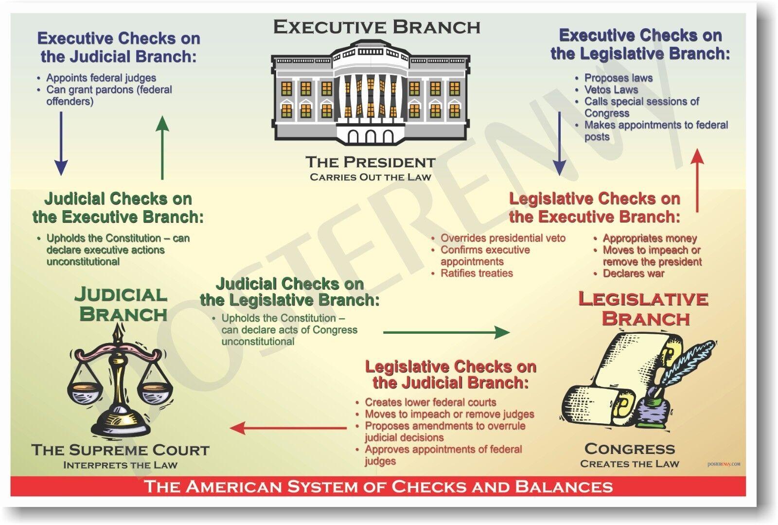 American System Of Checks Amp Balances Us History Poster