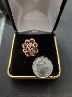 LADIES GENUINE GARNET & DIAMOND RING IN 14 K YELLOW GOLD . 50 TCW
