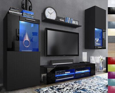 Wohnwand Anbauwand Fernsehwand Wohnzimmer Hochglanz Front Schwarz glänzend Movie