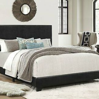 QUEEN SIZE Platform Bed With Leather Upholstered Headboard and Footboard Frame