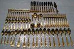 Solingen Germany 23/24K Gold Plated 68 Piece Vintage Flatware Set
