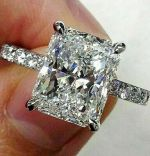 3.62ct Radiant Cut Solitaire Band Diamond Engagement Ring Solid 14K White Gold