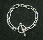 """Tiffany & Co Paloma Picasso Sterling Silver Groove Link Toggle 7.5"""" Bracelet"""