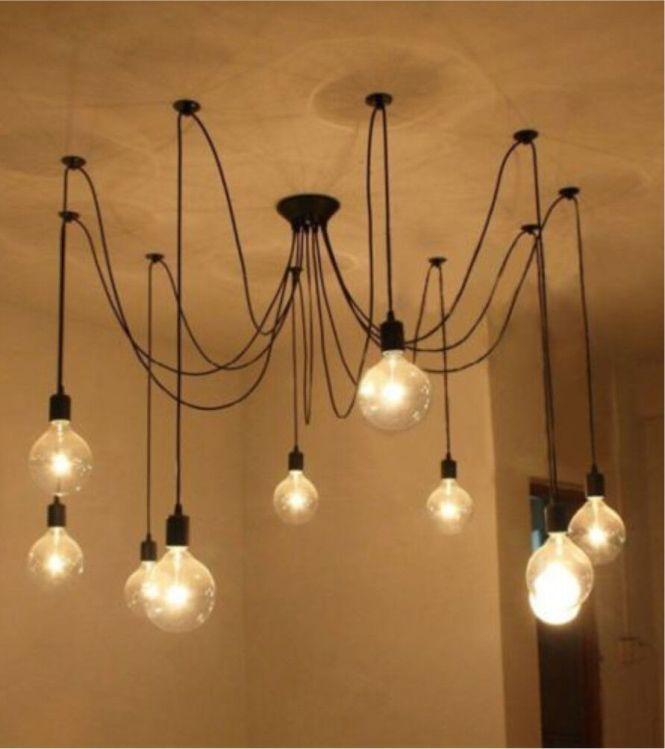 Vintage Edison Pendant Light Diy Ceiling Lamp Spider Chandelier New