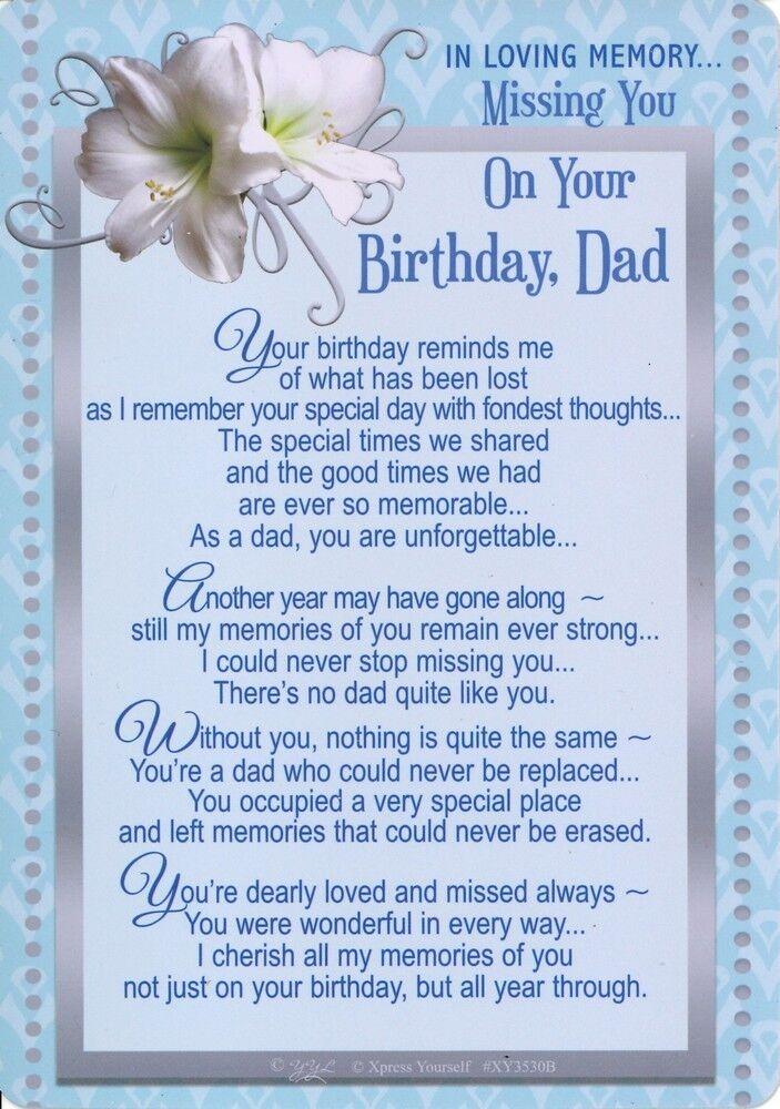 Grave Card Missing You On Your Birthday Dad Graveside Verse Memorial Memoriam 5035499055861 Ebay