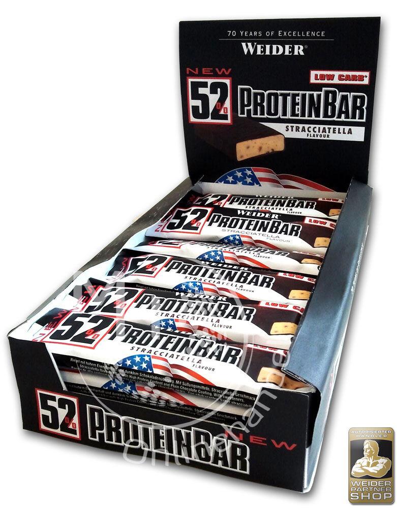 Weider 52% Protein Bar 24x 50g Box (27,67€/Kg) Low Carb Eiweiß Riegel