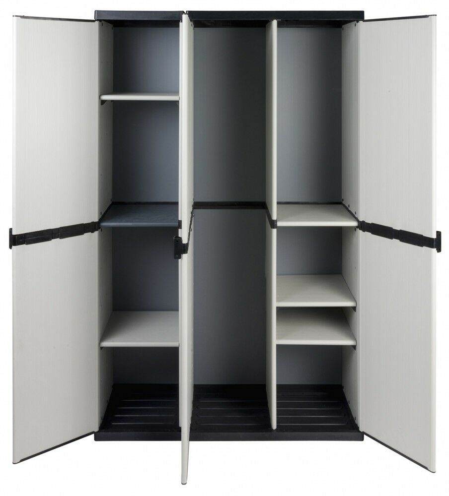 XXL Haushaltsschrank Gartenschrank Spind Schrank Kunststoffschrank 3 Türen Grau
